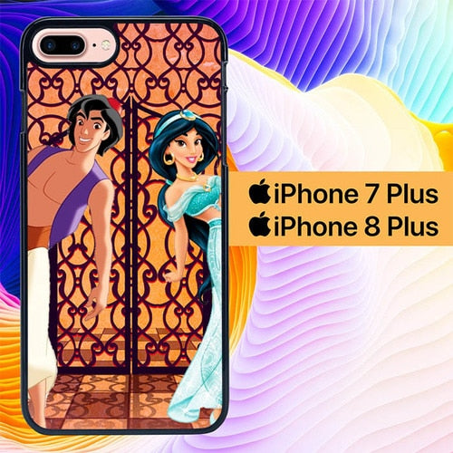 Custodia Cover iphone 7 plus 8 plus aladdin jasmine L0216a Case
