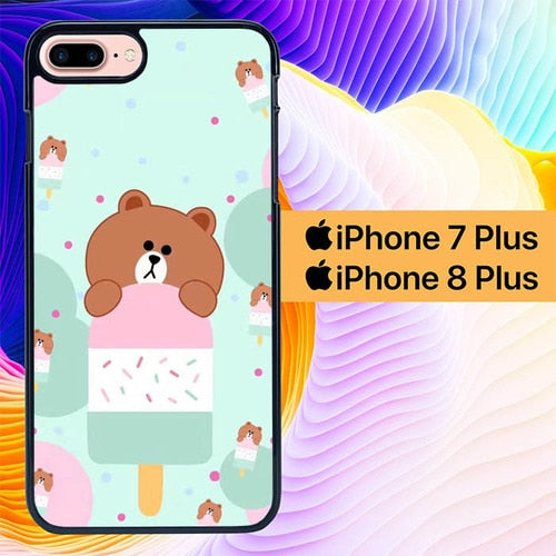 Custodia Cover iphone 7 plus 8 plus Brown Eat Ice Cream L0325 Case