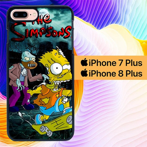 Custodia Cover iphone 7 plus 8 plus the simpsons zombie L0495 Case
