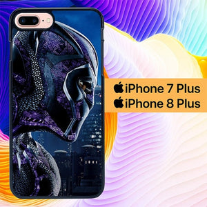 Custodia Cover iphone 7 plus 8 plus Black Panther Marvel 2 L0595 Case