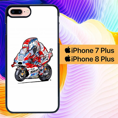 Custodia Cover iphone 7 plus 8 plus Andrea Dovizioso Animated L0600 Case