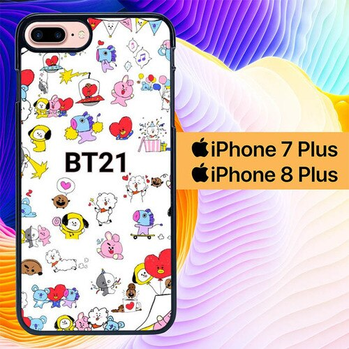 Custodia Cover iphone 7 plus 8 plus BT21 Pattern Wallpaper L0667 Case