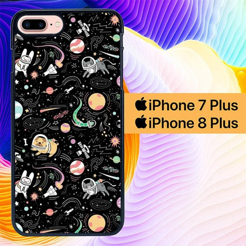 Custodia Cover iphone 7 plus 8 plus Cat And Dog Astronout L0670 Case