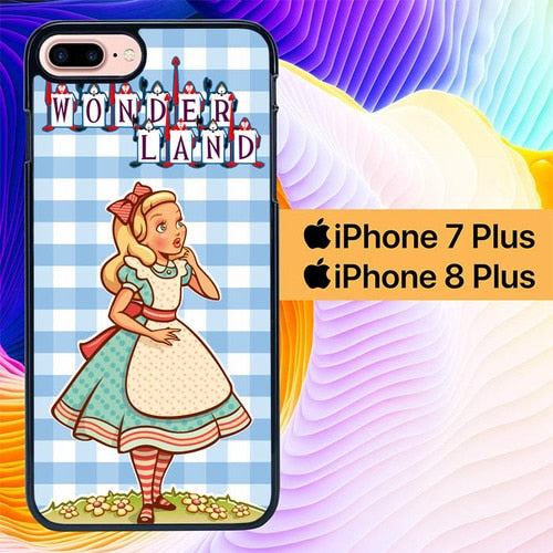 Custodia Cover iphone 7 plus 8 plus alice in wonderland cartoon L0947 Case