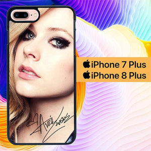 Custodia Cover iphone 7 plus 8 plus avril lavigne photo signature L0988 Case