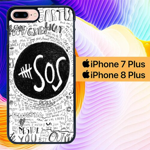 Custodia Cover iphone 7 plus 8 plus 5 Seconds of Summer 5SOS Doodle L1083 Case