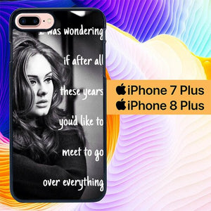 Custodia Cover iphone 7 plus 8 plus Adele Hello Lyric L1107 Case