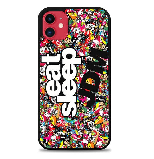 Custodia Cover iphone 11 pro max Eat Sleep JDM Sticker W5024 Case