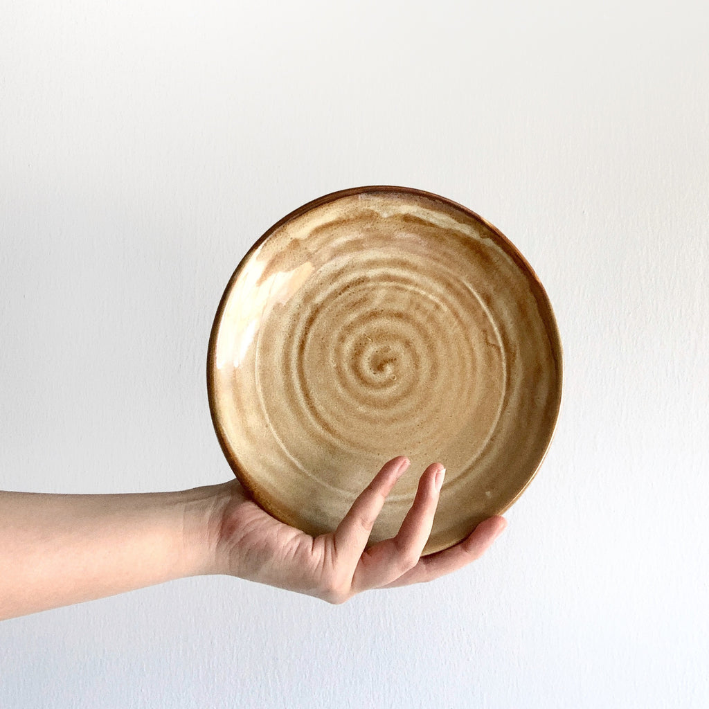 Earthy tone dinnerware piece - round serving plate