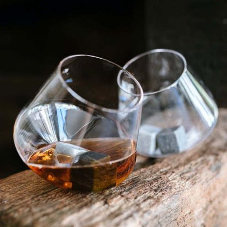 unique rocking whiskey glass cup - drinkware set of 2