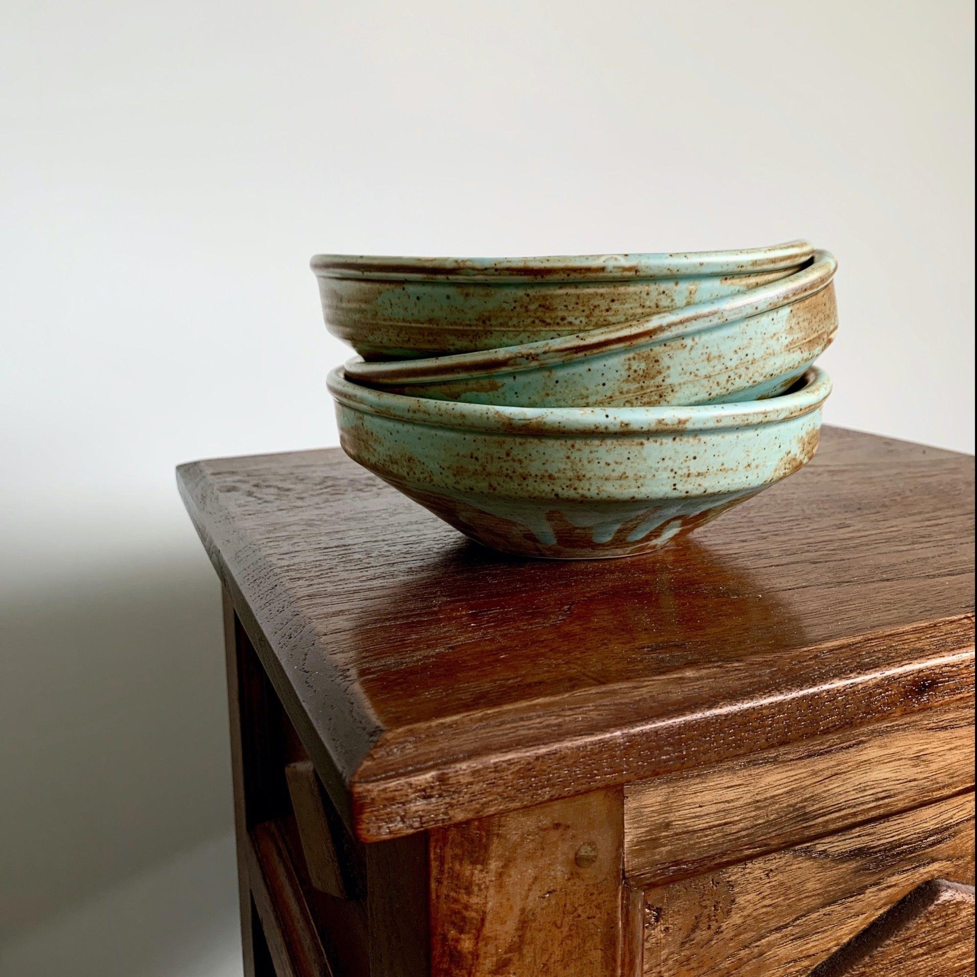 Earthy tone dinnerware piece - asymmetric round plate bowl