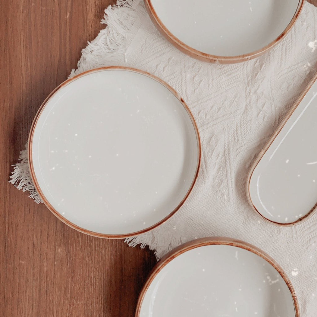 Acacia Dinnerware Collection - round flat dinner plate - white and wood finish | Base Piece Homeware