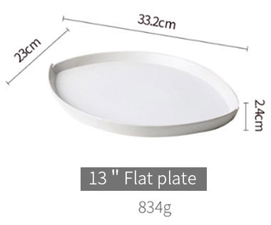 base dinnerware piece - white oval leaf shape sharing plate