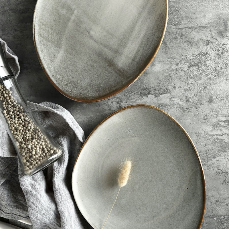 unique asymmetrical dinnerware set - serving and sharing plate in grey and black