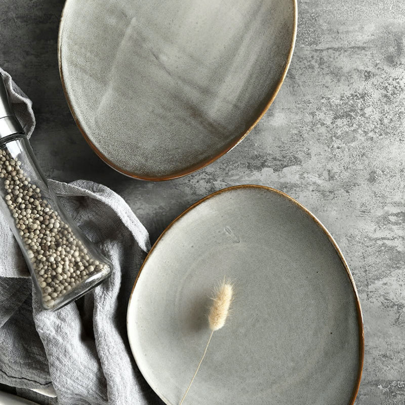 unique asymmetrical dinnerware set - serving plate in grey and black