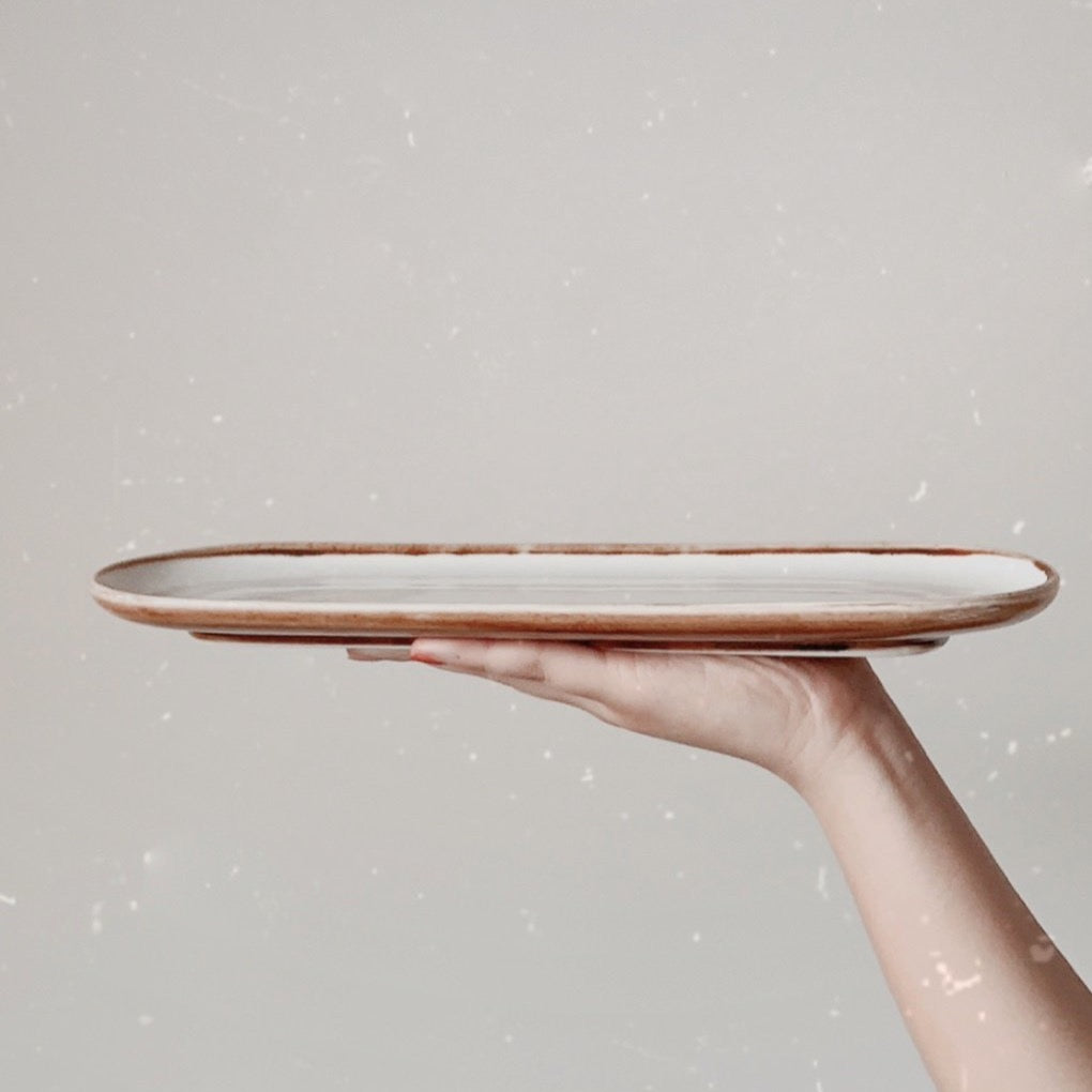 Acacia Dinnerware Collection - oval dish serving plate - white and wood finish | Base Piece Homeware