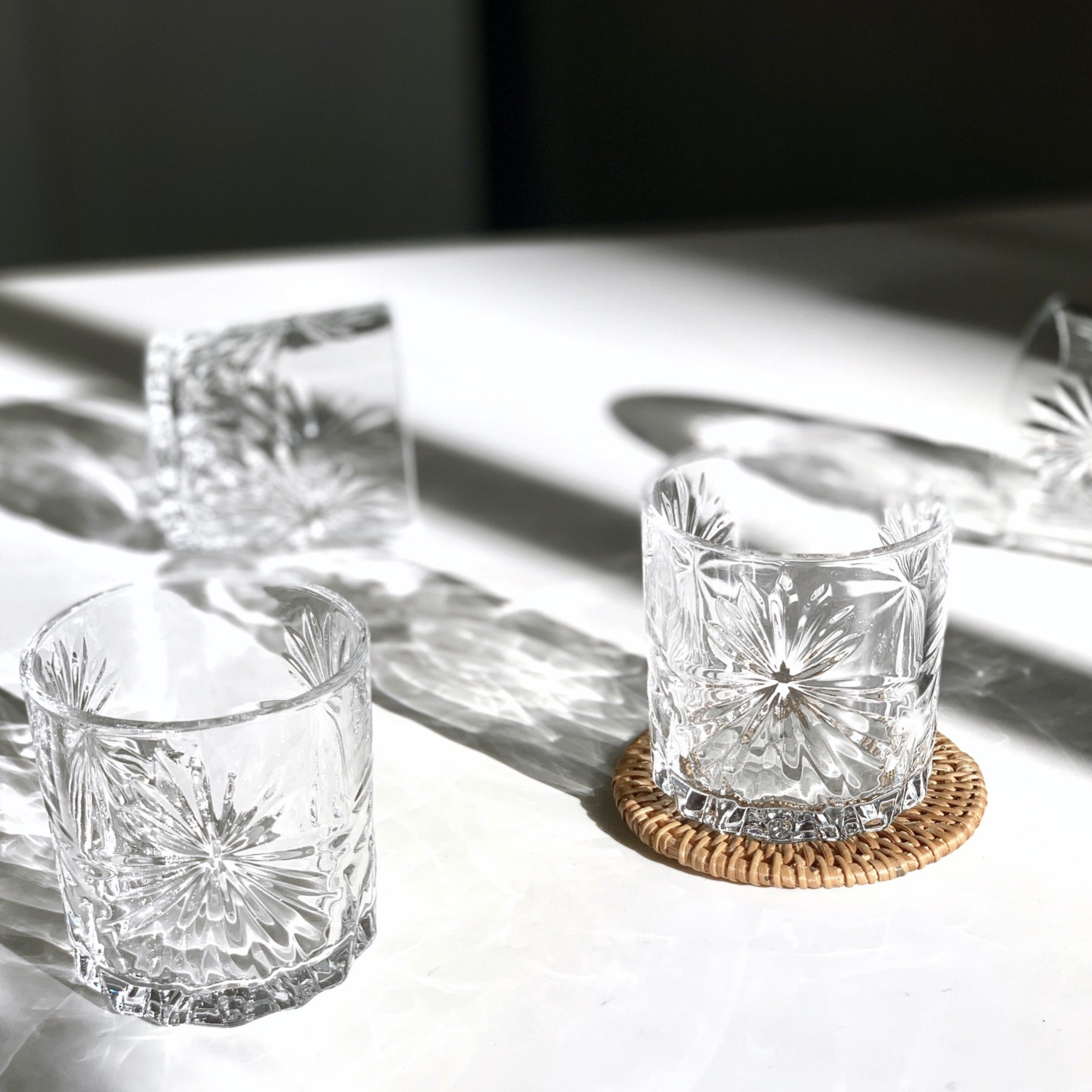 embellished crown-cut old fashioned whiskey glass