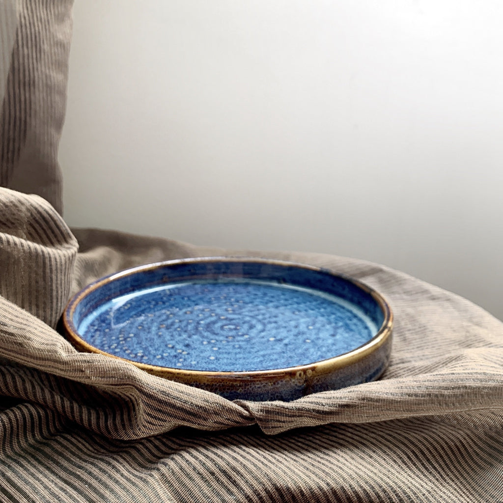 Ocean Blue Rimmed Round Serving Plate Dish
