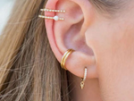 Pave Bullet Huggie Earrings in Gold by Handmade Dezigns