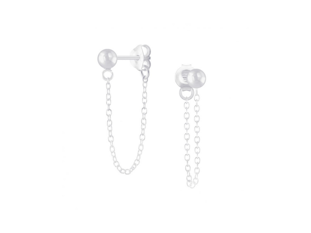 Silver Ball Stud Earrings on Chain