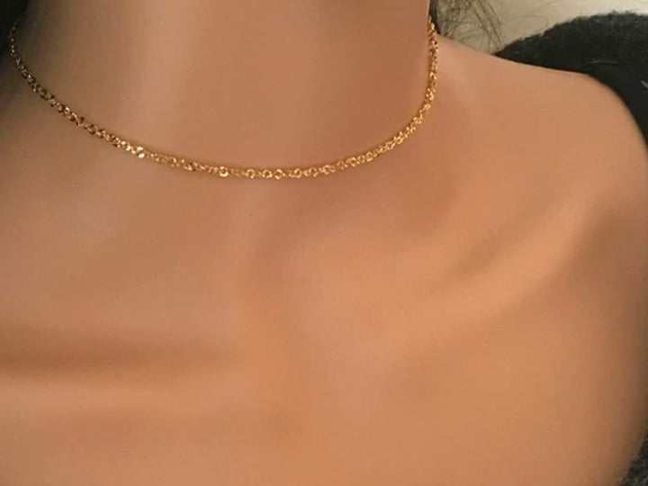 Gold Sparkly Gold Chain Choker