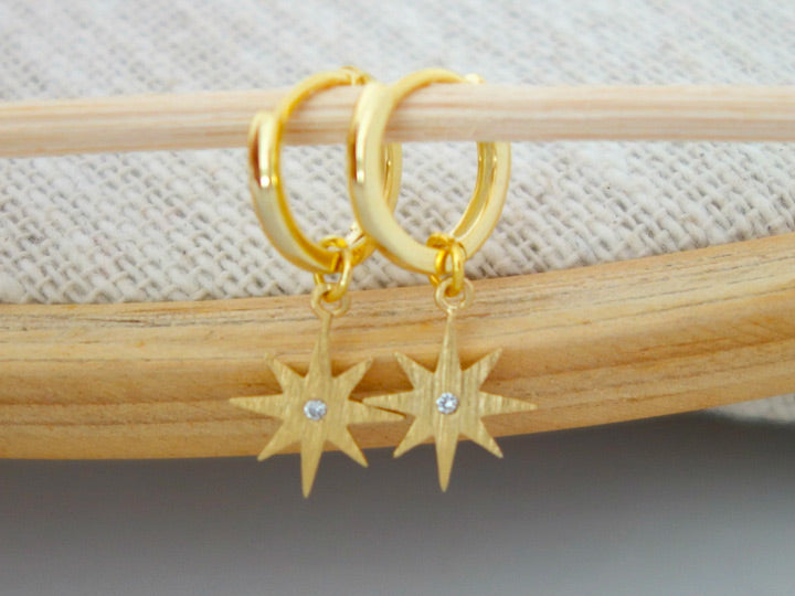 North Star Huggie Earrings by Handmade Dezigns