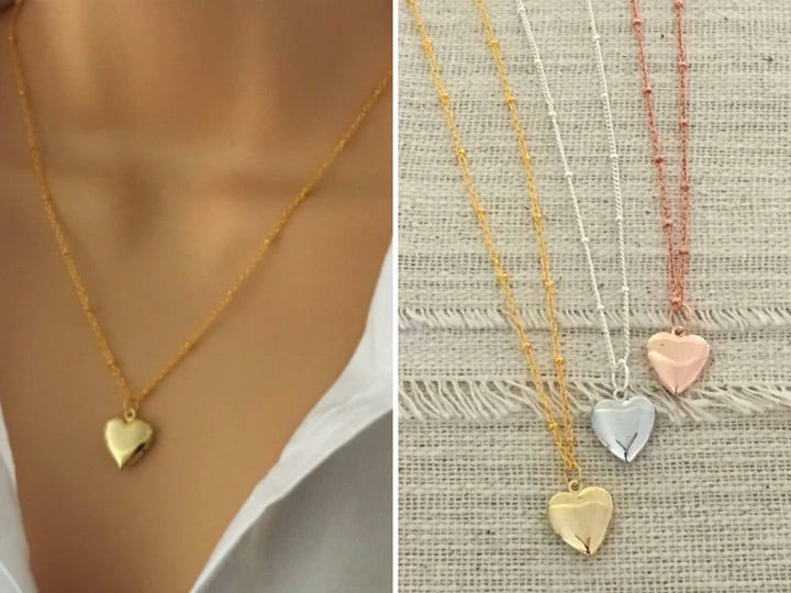 Mini Gold Heart Locket Necklace