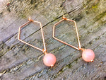 Pink Opal & Rose Gold Triangle Geometric Earrings by Handmade Dezigns