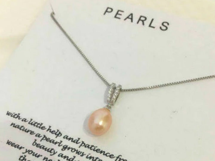 Real Pearl CZ Necklace