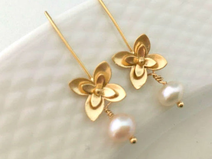 Real Pearl Gold Threader Earrings