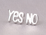 Yes No Stud Earrings by Handmade Dezigns