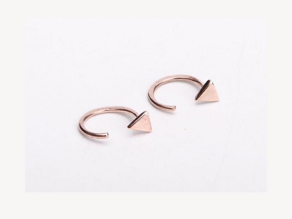 Gold Triangle Hugging Hoops
