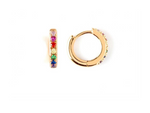 Rainbow Pave Huggie Hoops in Gold