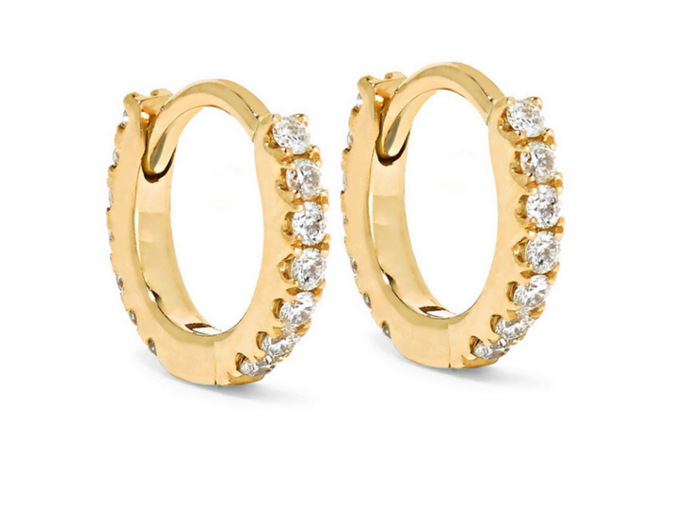 Pave Gold Huggie Hoops
