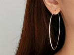 Extra Large Endless Silver Hoop Earrings