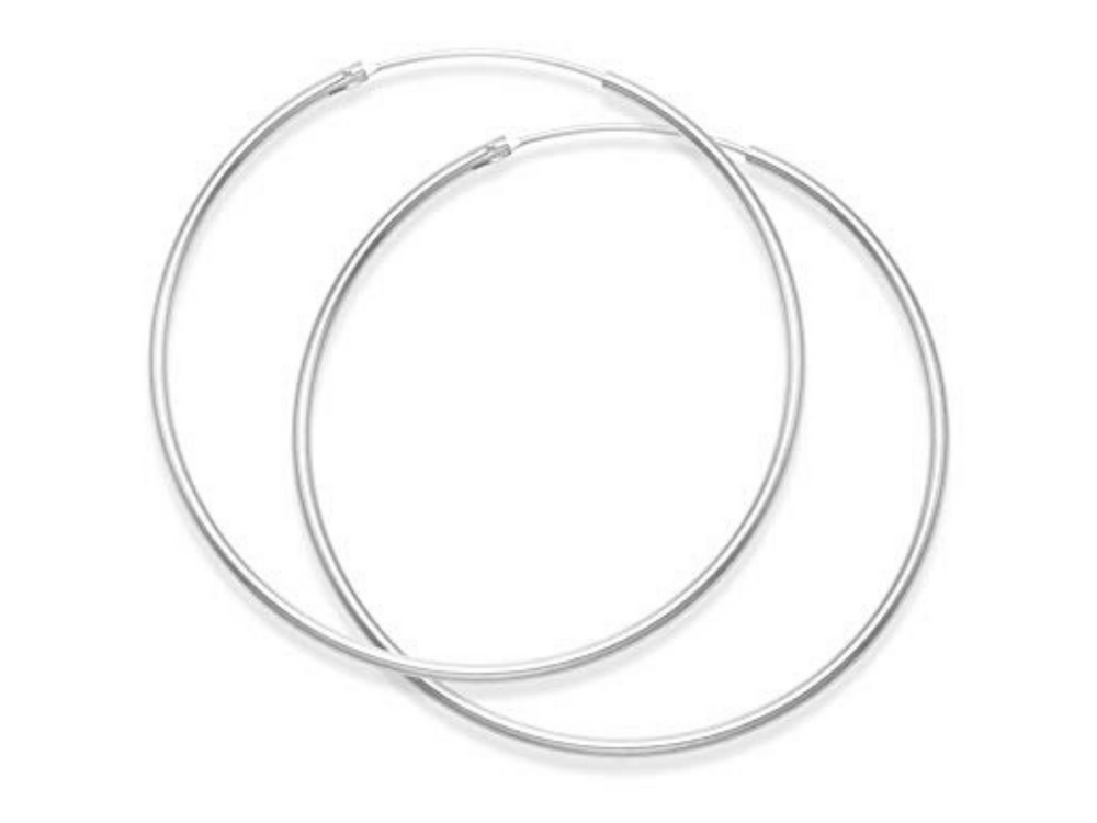 Large Endless Silver Hoop Earrings