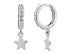 Silver Sparkly Star Hoop Earrings
