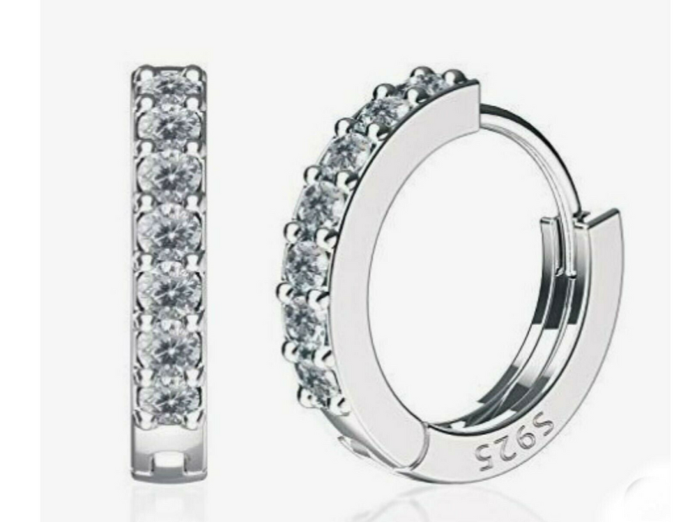 Sparkly CZ Silver Huggie Hoops by Handmade Dezigns