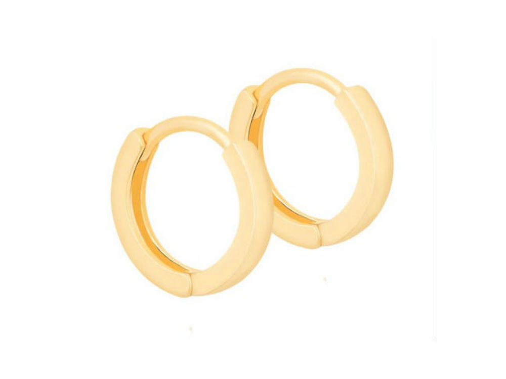 Luxe Simple Huggie Earrings in Gold by Handmade Dezigns