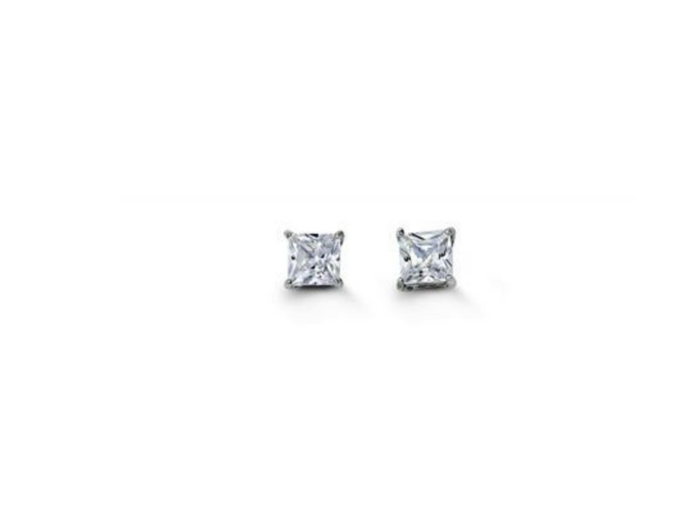 Sparkly Square CZ Stud Earrings