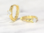CZ Solitaire Huggies in Gold