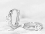 CZ Solitaire Huggies in Silver