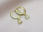 Square CZ Hoop Earrings
