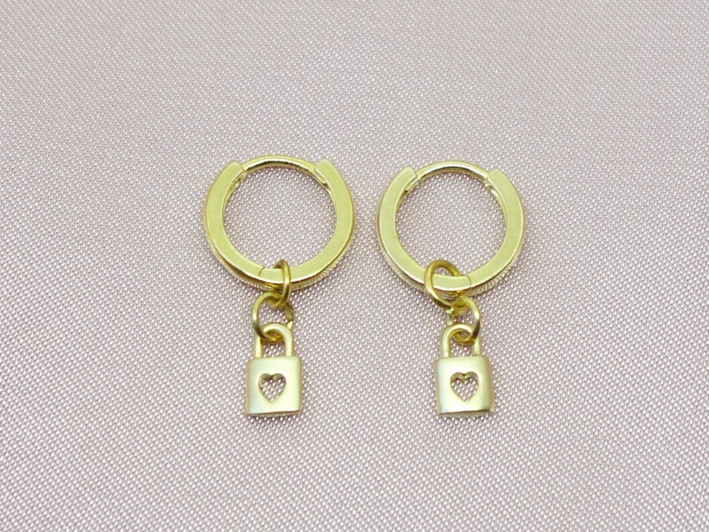 Heart Padlock Hoop Earrings