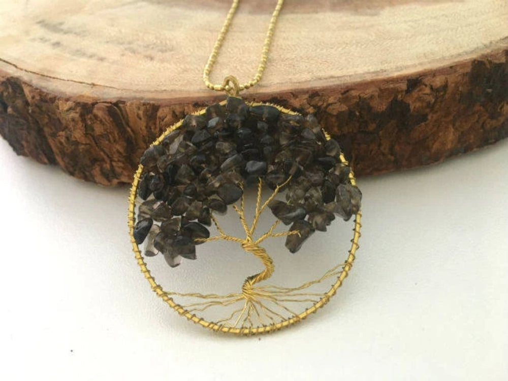 Smokey Quartz Gemstone Tree of Life Necklace