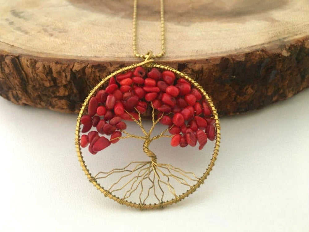 Coral Gemstone Tree of Life Necklace