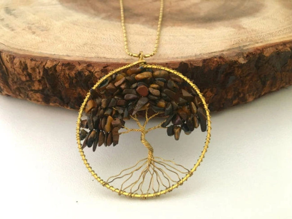 Tigers Eye Gemstone Tree of Life Necklace