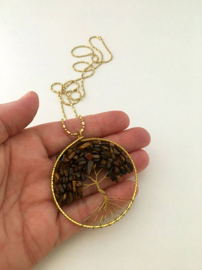 Natural Tigers Eye Gemstone Tree of Life Necklace by Handmade Dezigns