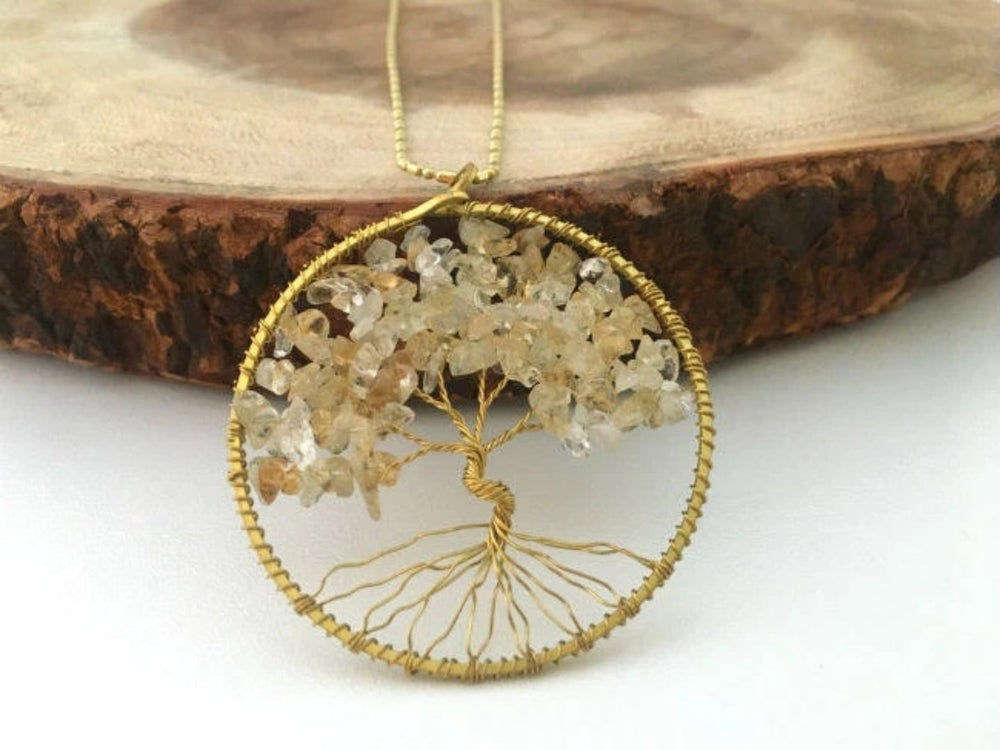 Natural Citrine Gemstone Tree of Life Necklace