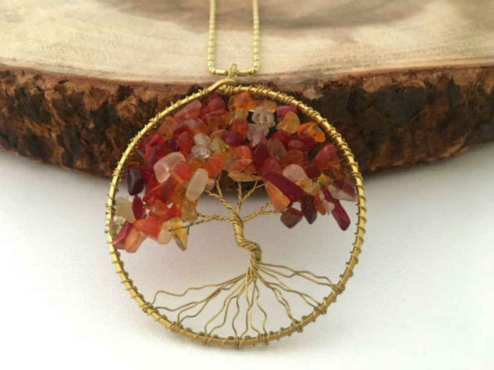 Red Agate Gemstone Tree of Life Necklace